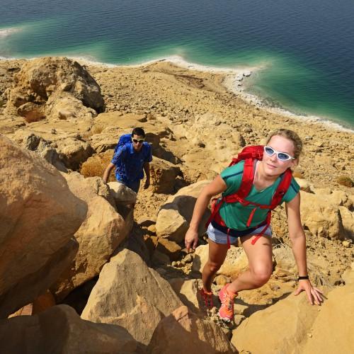 Hikers at Dead Sea, Jordan, Middle East, Orient- Model Released -